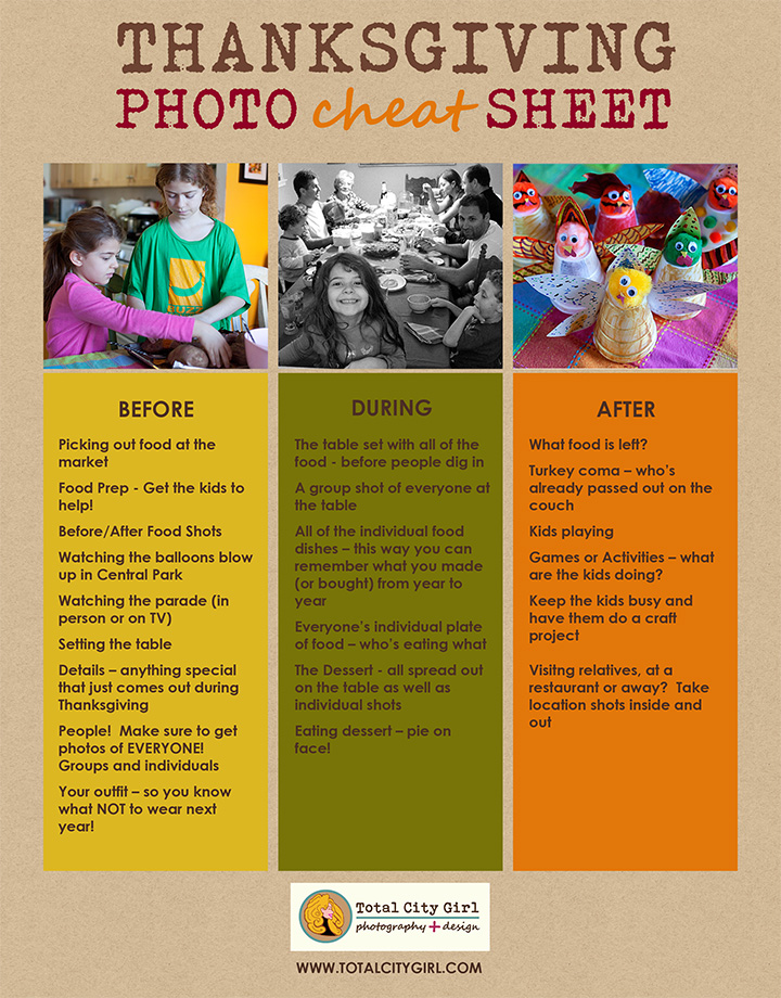 Thanksgiving Photo Cheat Sheet by Total City Girl Photography + Design