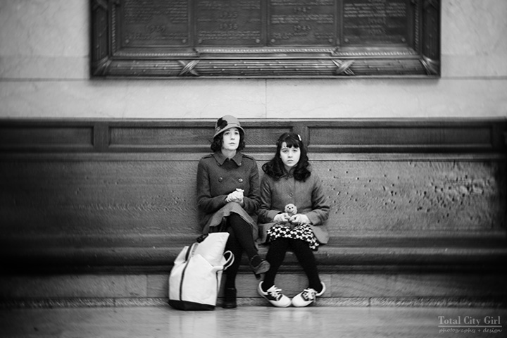 Mother and daughter in Grand Central Station - Total City Girl Photography + Design