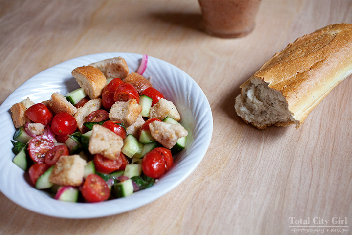 Panzanella Salad With Pickled Red Onions by Total City Girl