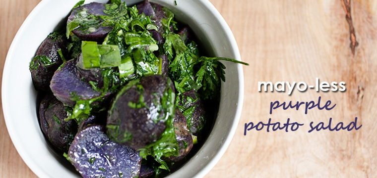 Easy Recipe:  Mayo-less Purple Potato Salad