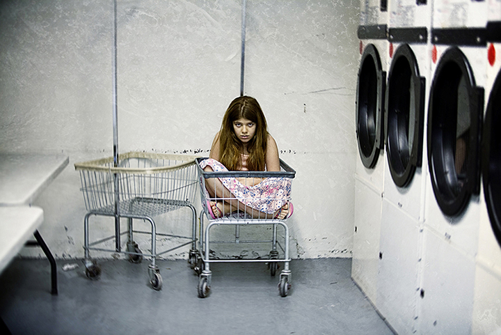 girl in laundry room