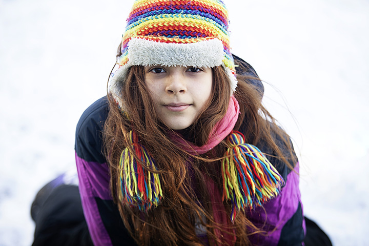portrait of girl in snow
